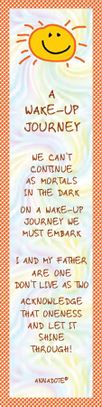 "Facsimile of ""A Wake-up Journey"" bookmark by ANNADOTE."